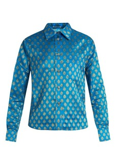 Miu Miu Point-collar leaf-jacquard shirt