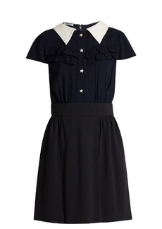 Miu Miu Point-collar ruffle-trimmed crepe shirtdress