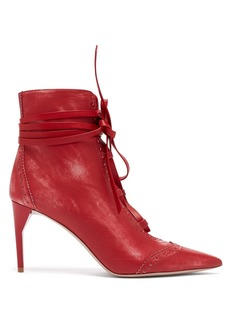 Miu Miu Point-toe lace-up leather ankle boots