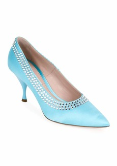 Miu Miu Pointed Satin Crystal-Trim Pumps
