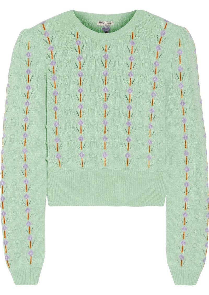 27418ae1936 Miu Miu Miu Miu Pointelle-trimmed cashmere sweater