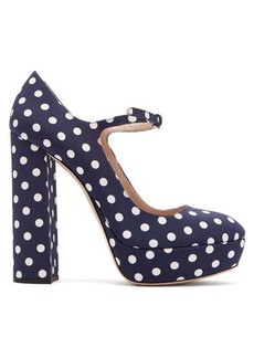 Miu Miu Polka-dot platform Mary-Jane pumps