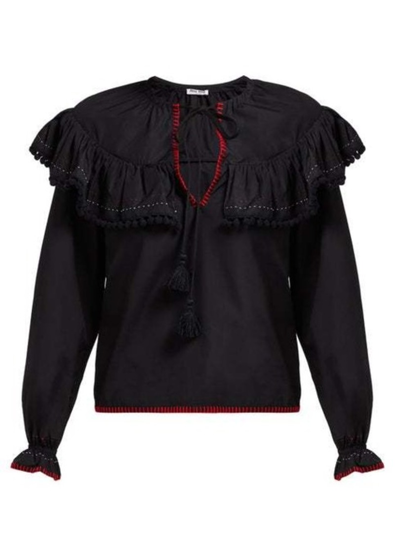 Miu Miu Pompom-trim cotton-poplin peasant blouse