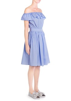 Miu Miu Poplin Stripe Off-the-Shoulder A-Line Dress