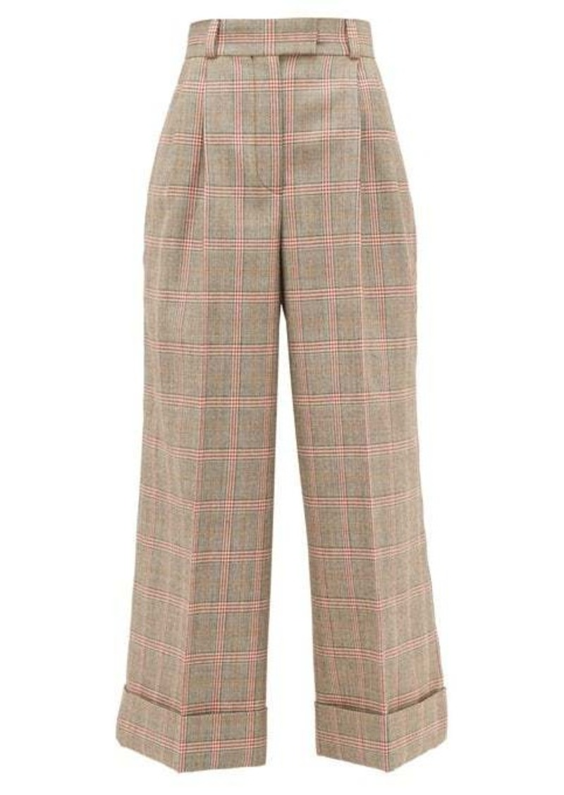 Miu Miu Prince of Wales-check wool wide-leg trousers