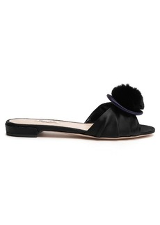 Miu Miu Rabbit-fur pompom satin slides