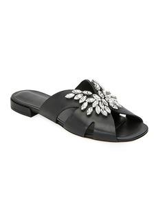 Miu Miu Rhinestone Embellished Flat Sandals