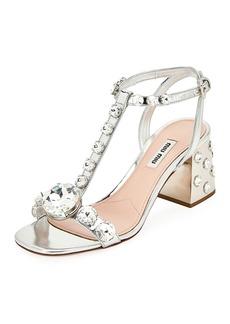 Miu Miu Rhinestone Embellished Sandals