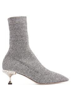 Miu Miu Ribbed-knit metallic-glitter sock ankle boots