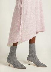 Miu Miu Ribbed-knit metallic-glitter sock ankle boots