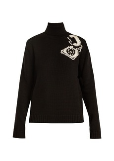Miu Miu Roll-neck telephone-intarsia wool sweater
