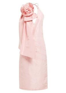 Miu Miu Rosette appliqué silk-taffeta dress