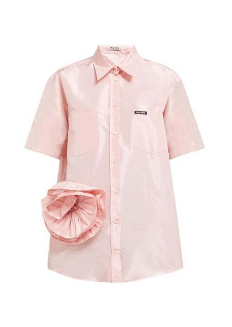 Miu Miu Rosette silk-taffeta shirt