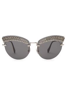 Miu Miu Round cat-eye embellished sunglasses