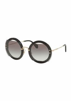Miu Miu Round Cutout Glitter Sunglasses