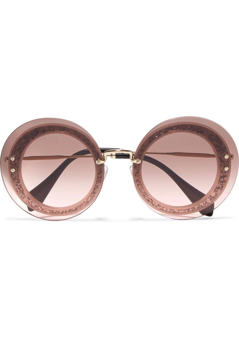 17f60ae2c0a Miu Miu Miu Miu Round-frame glittered acetate and gold-tone sunglasses