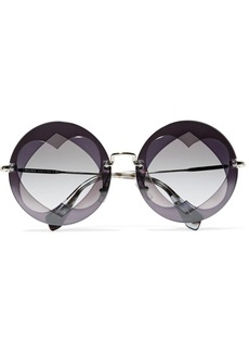Miu Miu Round-frame layered acetate and gold-tone sunglasses
