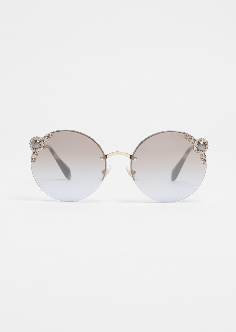 1be1c23f44c Miu Miu Miu Miu Round Imitation Pearl Sunglasses