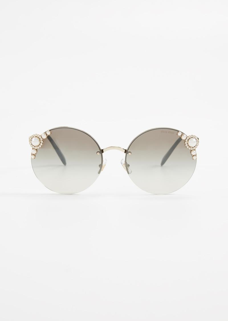 c7c1a1ebddb Miu Miu Miu Miu Round Imitation Pearl Sunglasses