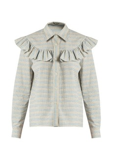 Miu Miu Ruffle-trimmed checked cotton shirt
