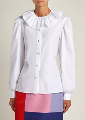 Miu Miu Ruffled-collar cotton-poplin blouse
