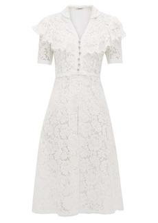 Miu Miu Ruffled cotton-blend guipure-lace midi dress
