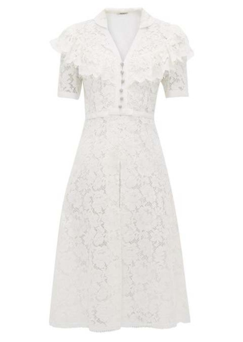 Miu Miu Ruffled cotton-blend guipure-lace midi dress