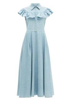 Miu Miu Ruffled denim midi dress