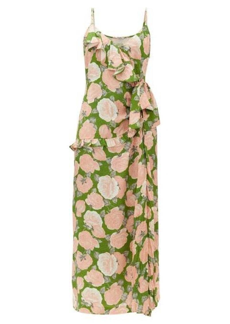 Miu Miu Ruffled floral-print silk-jacquard dress