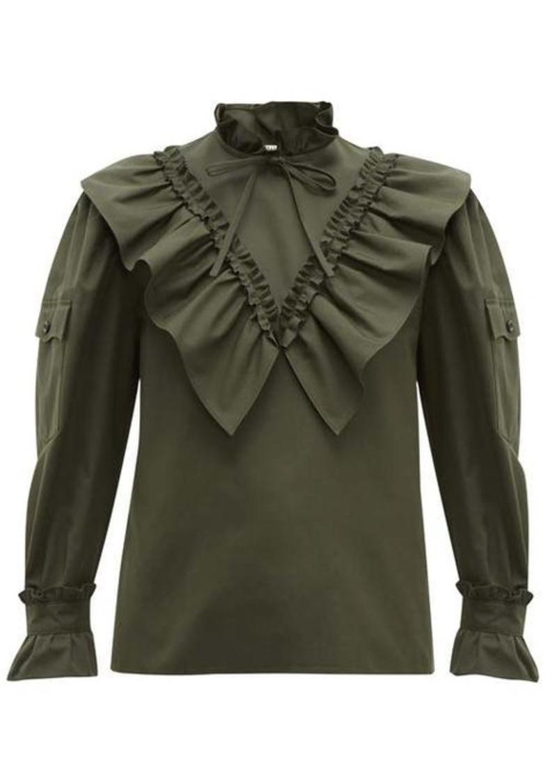 Miu Miu Ruffled high-neck cotton blouse