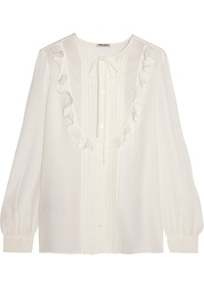 Miu Miu Ruffled silk crepe de chine blouse