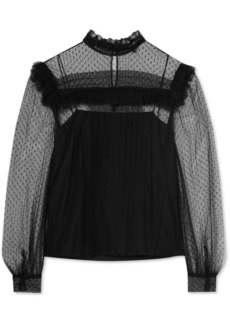 Ruffled Swiss-dot tulle blouse
