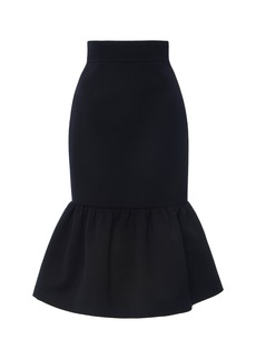 Miu Miu Ruffled Wool Cady Midi Skirt