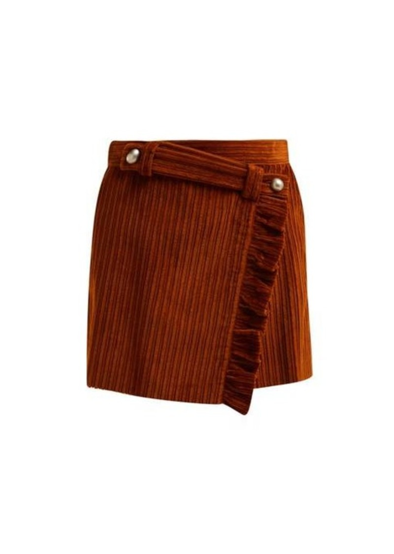 Miu Miu Ruffled wrap-front cotton-corduroy mini skirt