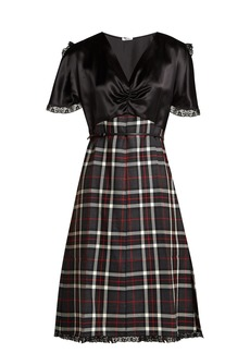 Miu Miu Satin and tartan wool dress