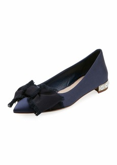 Satin Jeweled-Heel Skimmer with Bow