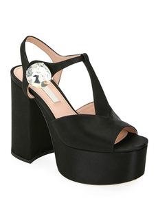 Miu Miu Satin Platform T-Strap Sandals