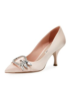 Miu Miu Satin Point-Toe Crystal Buckle Pump