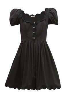 Miu Miu Scallop-trim cotton-poplin mini dress