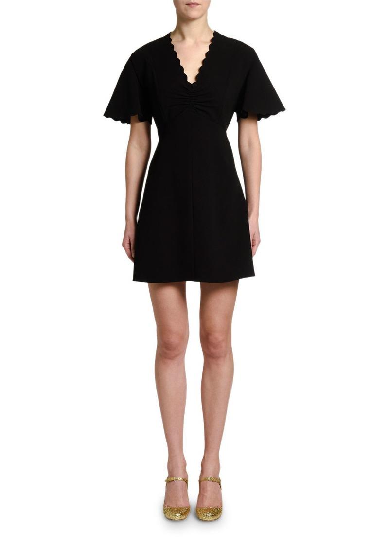 Miu Miu Scalloped Short-Sleeve Mini Dress