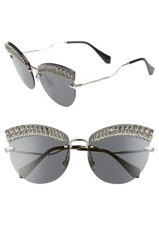 Miu Miu Scenique Evolution 65mm Oversize Rimless Cat Eye Sunglasses