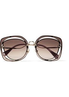 Miu Miu Scenique square-frame cutout acetate and gold-tone sunglasses