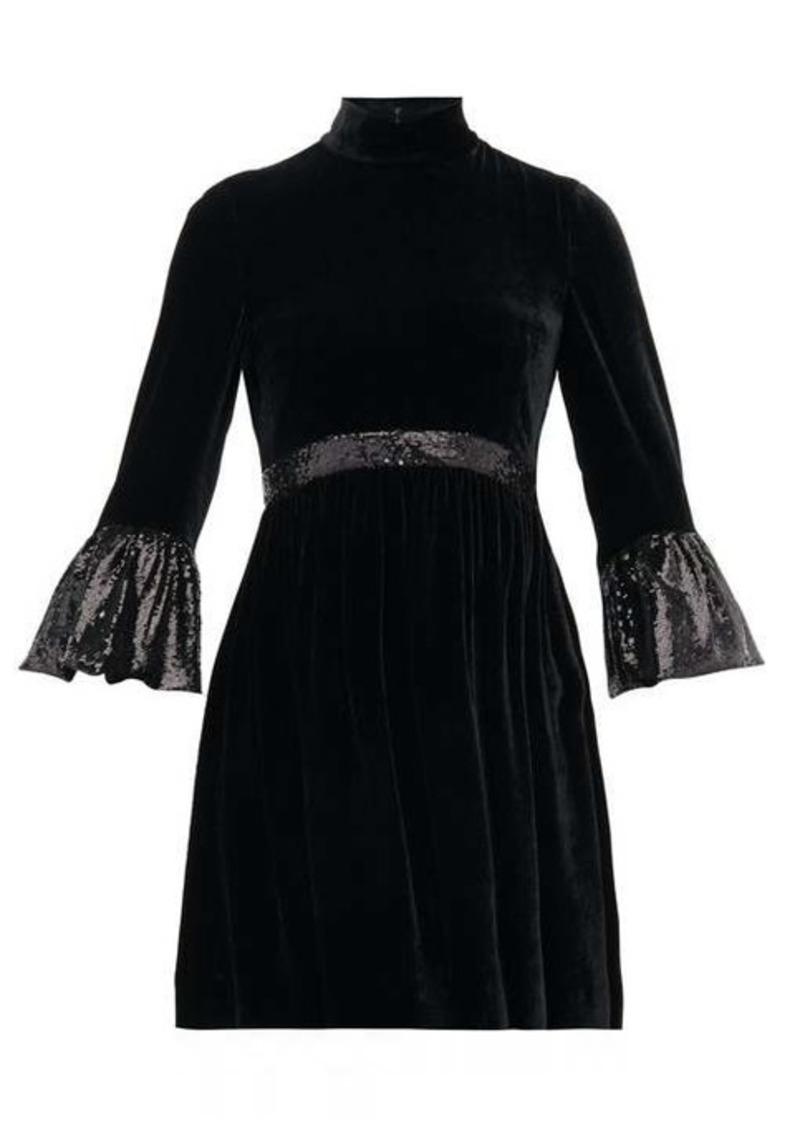 Miu Miu Sequinned-cuff velvet mini dress