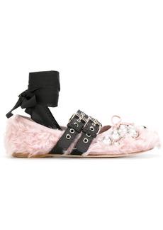 Miu Miu shearling buckle ballerinas - Pink & Purple