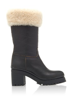 Miu Miu Shearling-Trimmed Leather Boots