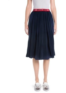 Miu Miu Silk Crepe De Chine Logo Skirt