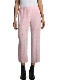 Miu Miu Silk Crepe Embroidered Crop Trousers
