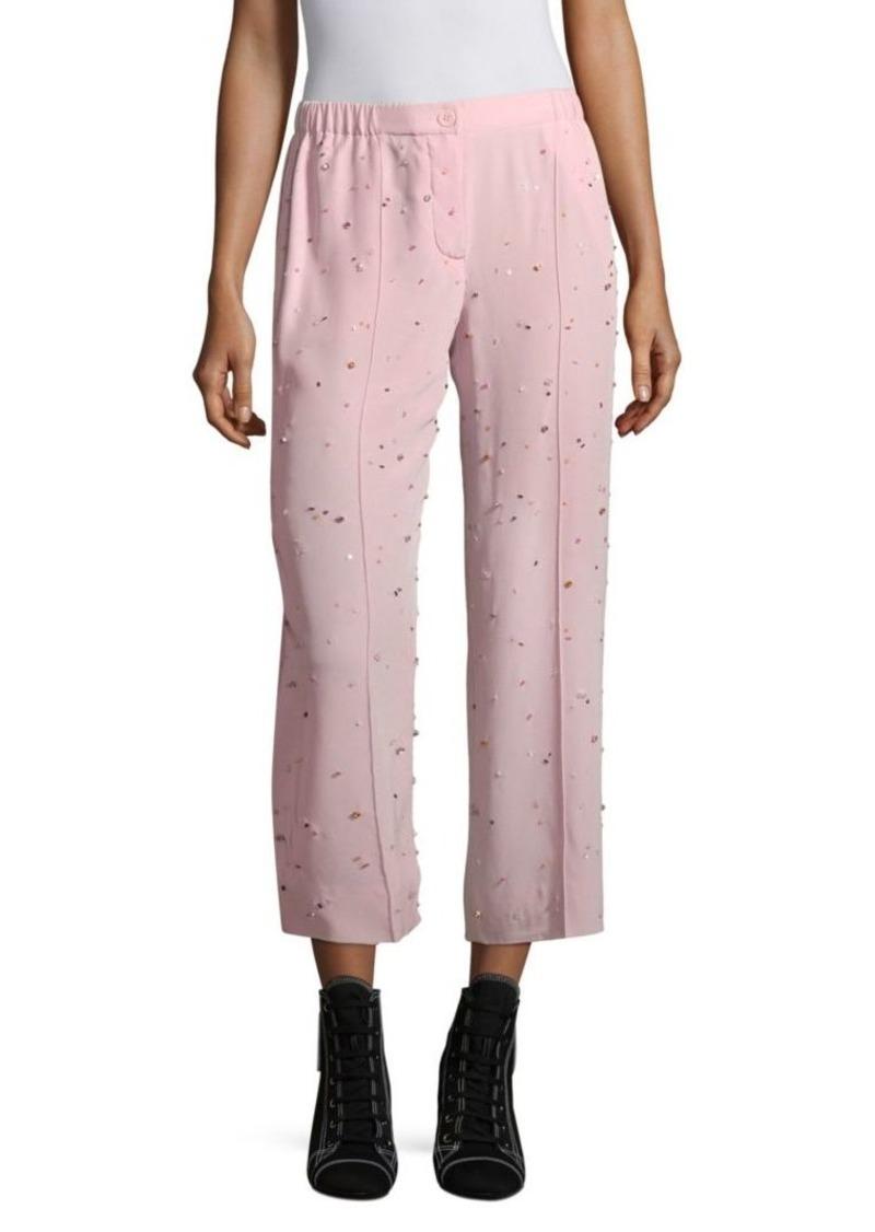 Miu Miu Silk Crepe Embroidered Crop Trousers