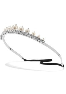 Silver-tone faux pearl and crystal headband