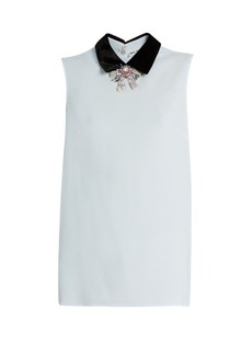 Miu Miu Sleeveless crystal-embellished crepe blouse